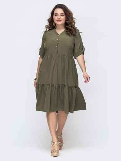 Расклешенное платье батал на пуговицах хаки 48894, фото 1