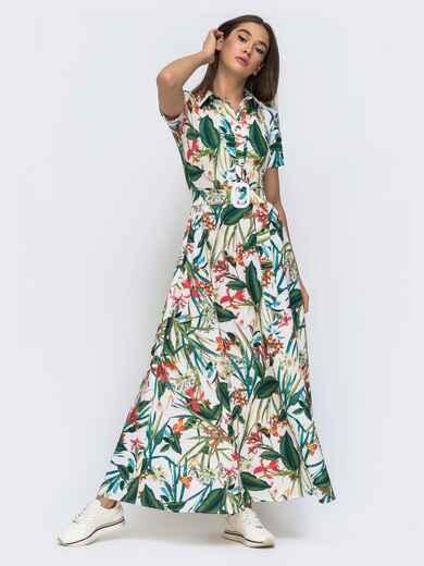 Расклешенное платье-макси в цветочный принт 48276, фото 1