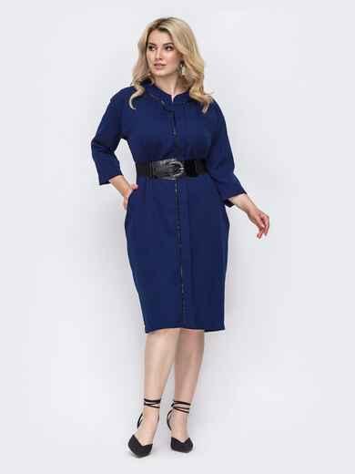Синее платье батал прямого кроя с пайетками 49787, фото 1