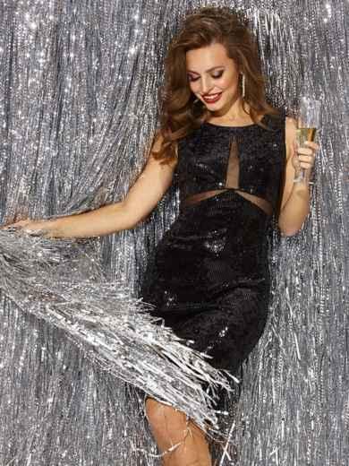 Велюровое платье с пайетками и вставками из сетки чёрное - 42794, фото 2 – интернет-магазин Dressa