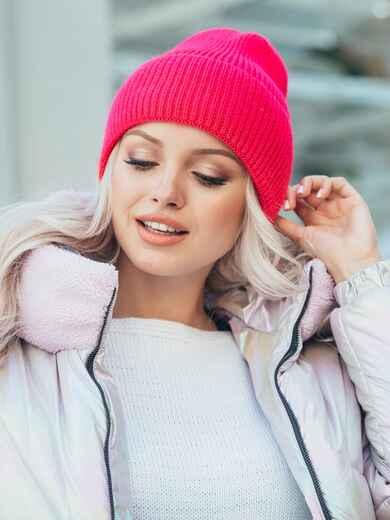 Вязаная шапка с подворотом розовая 50129, фото 1