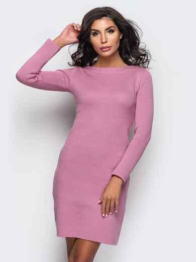 Вязанное платье-футляр с длинным рукавом розовое - 13773, фото 1 – интернет-магазин Dressa