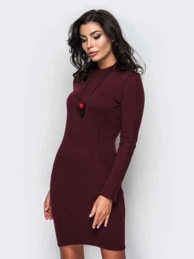 Вязанное платье с воротником-стойкой бордовое - 13780, фото 2 – интернет-магазин Dressa