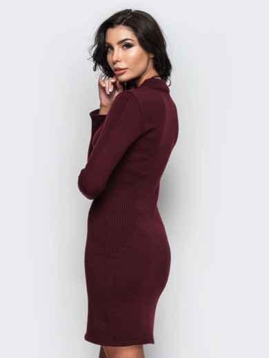 Вязанное платье с воротником-стойкой бордовое - 13780, фото 3 – интернет-магазин Dressa