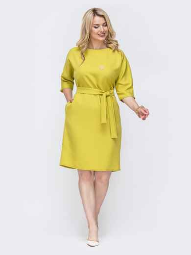 Желтое платье батал с пуговицами сзади 49791, фото 1