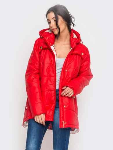 Зимняя куртка красного цвета с удлиненной спинкой - 15195, фото 2 – интернет-магазин Dressa