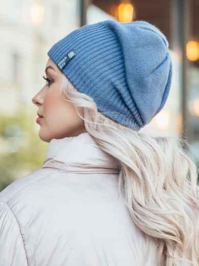Зимняя шапка на флисе синего цвета 50122, фото 2