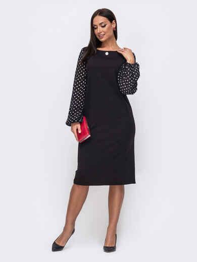 Чёрное платье батал с рукавами из софта в горох 52649, фото 1