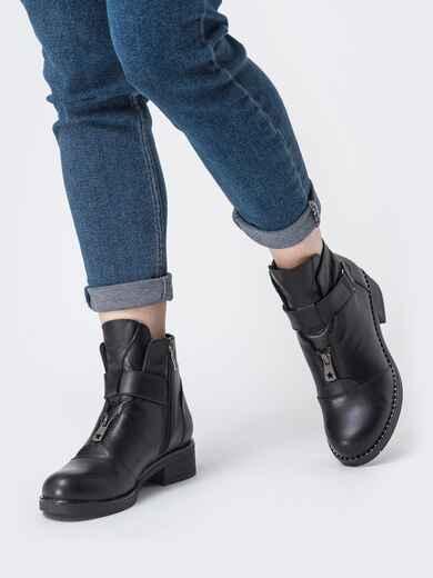 Чёрные ботинки на змейке из натуральной кожи  42569, фото 1