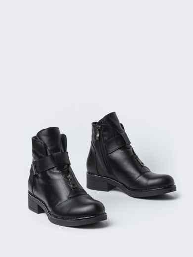 Чёрные ботинки на змейке из натуральной кожи  42569, фото 2