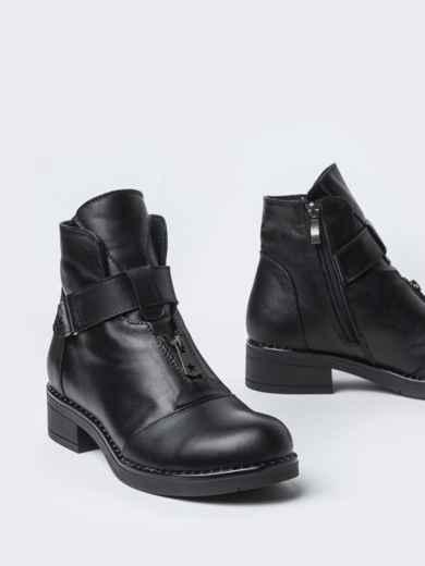 Чёрные ботинки на змейке из натуральной кожи  42569, фото 3