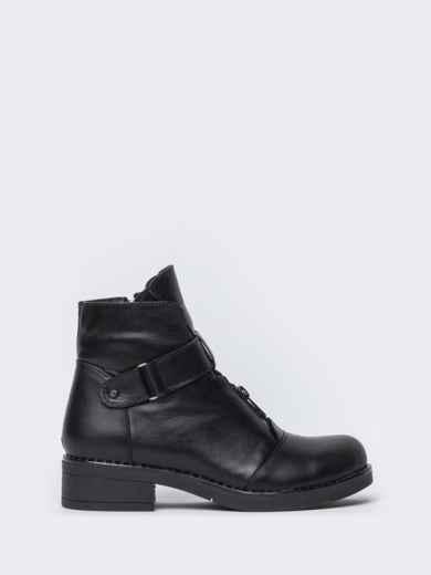 Чёрные ботинки на змейке из натуральной кожи  42569, фото 4