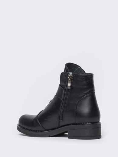 Чёрные ботинки на змейке из натуральной кожи  42569, фото 5
