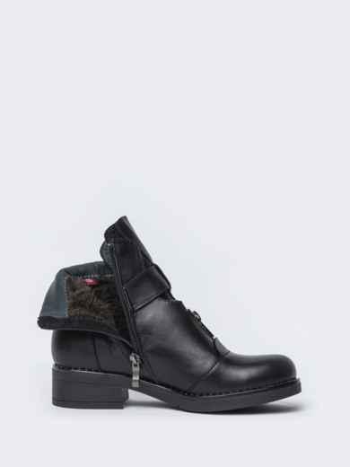 Чёрные ботинки на змейке из натуральной кожи  42569, фото 6