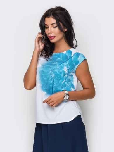 Легкая блузка с принтом и пуговицей сзади 10251, фото 1