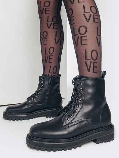 Демисезонные ботинки из кожи черные 51805, фото 1
