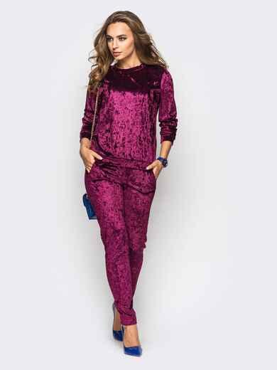 Костюм из велюра с карманами на брюках бордовый - 13878, фото 1 – интернет-магазин Dressa