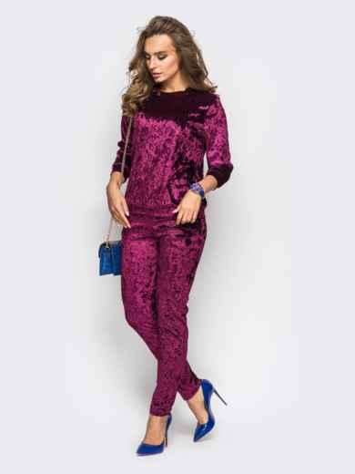 Костюм из велюра с карманами на брюках бордовый - 13878, фото 2 – интернет-магазин Dressa