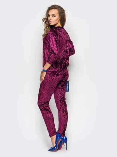 Костюм из велюра с карманами на брюках бордовый - 13878, фото 3 – интернет-магазин Dressa