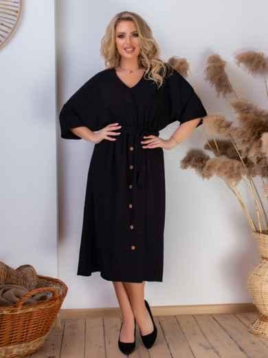 Платье батал с резинкой по талии чёрное 46467, фото 2
