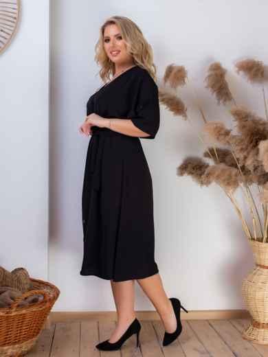 Платье батал с резинкой по талии чёрное 46467, фото 3