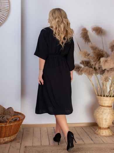 Платье батал с резинкой по талии чёрное 46467, фото 4