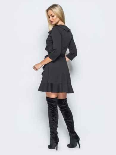 Платье черного цвета с имитацией запаха и молнией по спинке - 17638, фото 3 – интернет-магазин Dressa