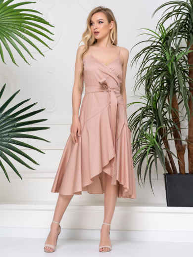 Платье на запах с воланом по низу бежевое 48776, фото 1