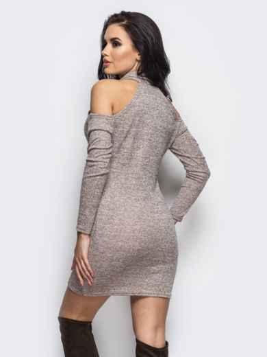 Платье с воротником-хомут и вырезами на плечах бежевое - 13538, фото 2 – интернет-магазин Dressa