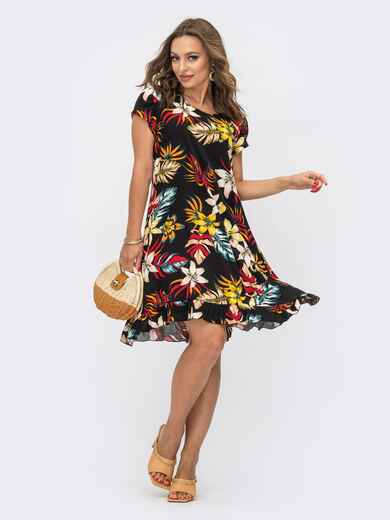 Принтованное платье с коротким рукавом черное 54113, фото 1