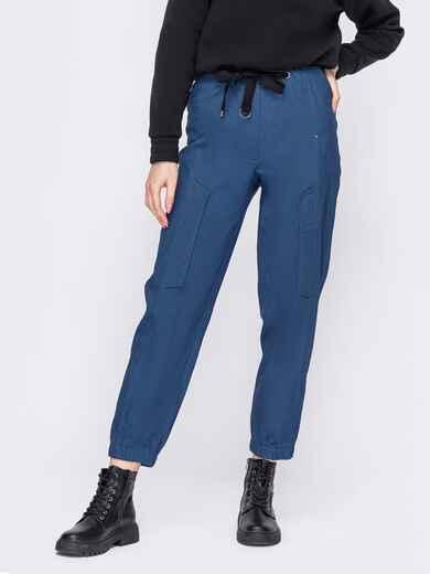 Синие брюки с накладными карманами сзади 52898, фото 1