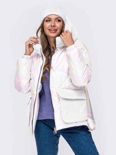 Свободная куртка с капюшоном и съемными карманами молочная 52458, фото 1