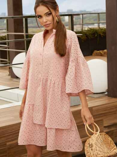 Свободное платье из прошвы с воротником-стойкой розовое 54162, фото 1