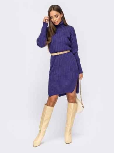 Вязаное платье с воротником и разрезами по бокам фиолетовое 54945, фото 1