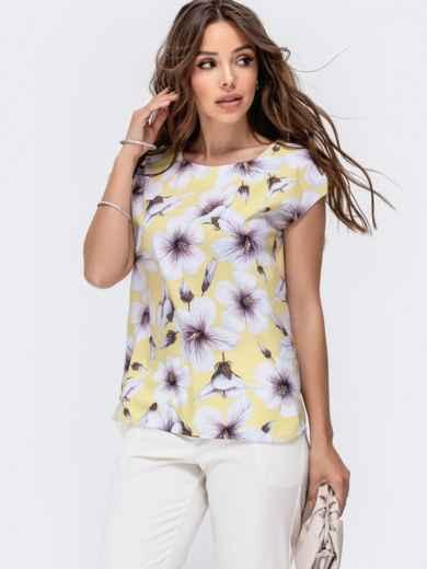 Желтаяблузкас цветочным принтом 48321, фото 2