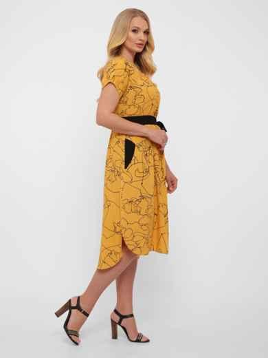 Желтое платье батал свободного кроя с закруглённым низом 48572, фото 2