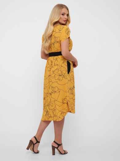 Желтое платье батал свободного кроя с закруглённым низом 48572, фото 3