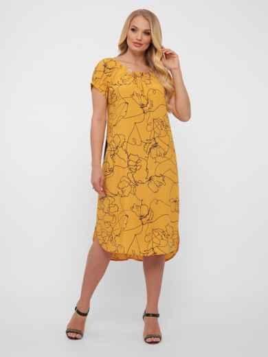 Желтое платье батал свободного кроя с закруглённым низом 48572, фото 4