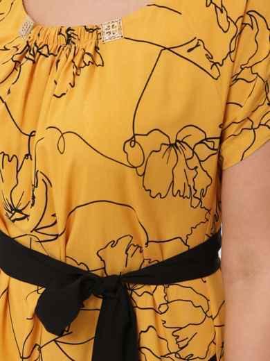 Желтое платье батал свободного кроя с закруглённым низом 48572, фото 5