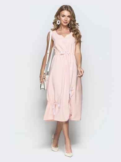 Льняное платье розового цвета 39695, фото 1