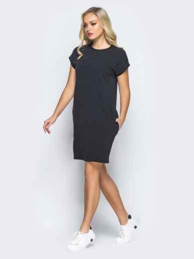 Платье свободного кроя без застёжек черного цвета - 16406, фото 2 – интернет-магазин Dressa