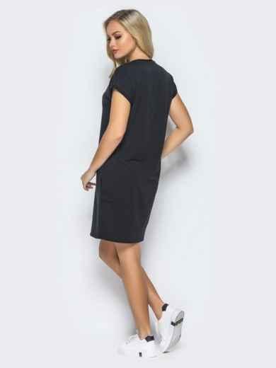 Платье свободного кроя без застёжек черного цвета - 16406, фото 3 – интернет-магазин Dressa
