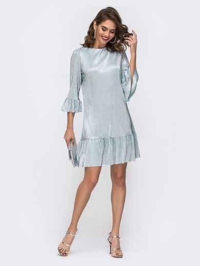 Платье свободного кроя с оборкой по низу голубое 42961, фото 1