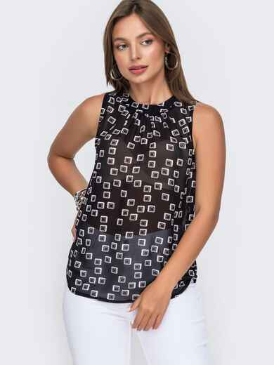 Шифоновая блузка с принтом и бантом на спинке чёрная 49105, фото 1