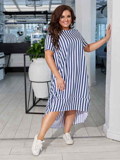 Свободное платье батал в синюю полоску с удлиненной спинкой 48652, фото 1