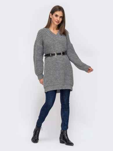 Свободный свитер крупной вязки с V-вырезом серый - 41202, фото 3 – интернет-магазин Dressa