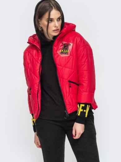 Укороченная куртка с трикотажными манжетами красная 45167, фото 2