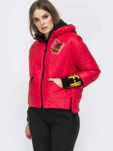 Укороченная куртка с трикотажными манжетами красная 45167, фото 3