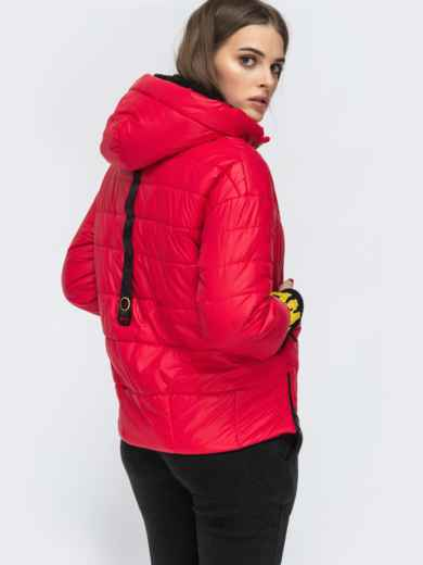 Укороченная куртка с трикотажными манжетами красная 45167, фото 5