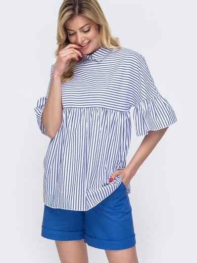 Белая блузка свободного кроя в узкую полосу 48423, фото 1
